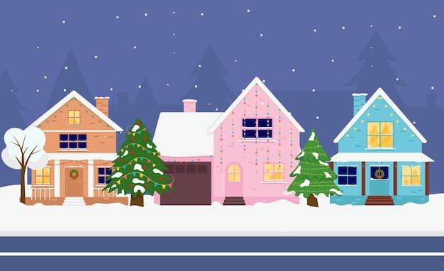 Maison familiale. joyeux noël hiver. salutation de noël.