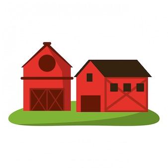 Maison de ferme et grange dans la nature