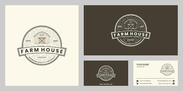 Maison de ferme, ranch, style rétro d'insigne de conception de logo d'agriculture