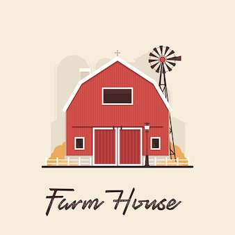 Maison de ferme rouge plat dans village