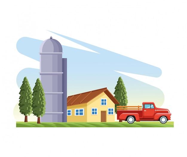 Maison de ferme silo entrepôt camionnette arbres