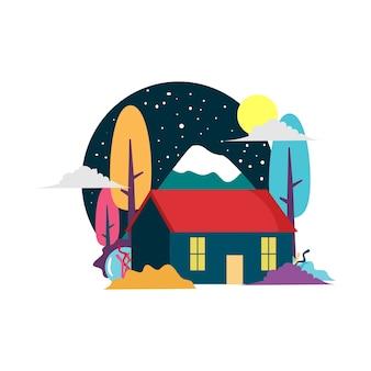 Une maison de flocon de neige avec fond coloré
