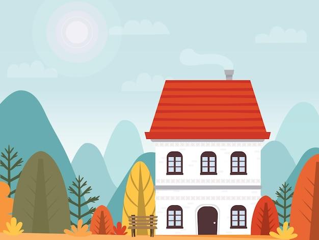 Maison sur fond de paysage d'automne. immeuble de deux étages dans les montagnes. carte postale à thème. publicité de loisirs en plein air. feuillage lumineux et coloré. illustration vectorielle, plat
