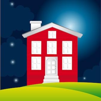 Maison sur fond de paysage, illustration vectorielle