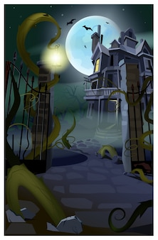 Maison gothique sombre avec illustration de chauves-souris en vol