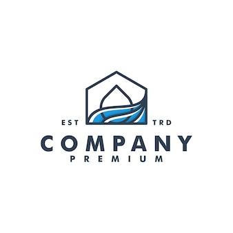 Maison goutte d'eau logo design maison vecteur icône logotype