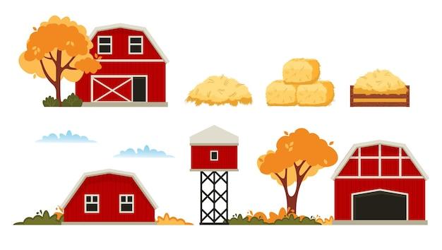 Maison de grange rouge ferme. récolte de foin d'automne.