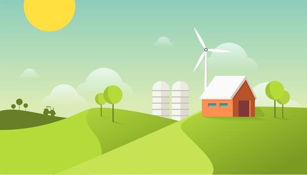 Maison de grange sur le terrain avec moulin à vent et tracteur