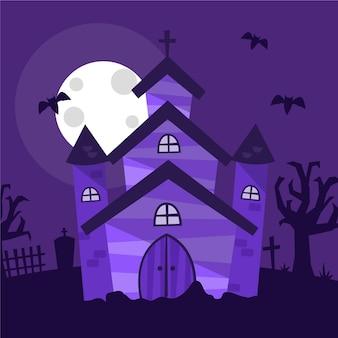 Maison d'halloween au design plat