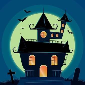 Maison d'halloween au design réaliste