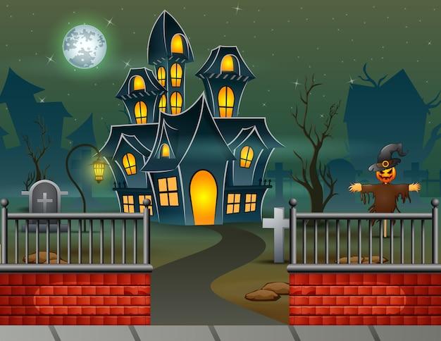 Maison d'halloween dans le fond de la nuit