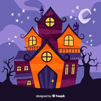 Maison d'halloween dessiné main coloré