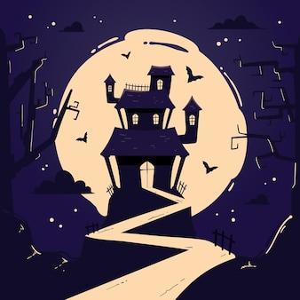 Maison d'halloween dessinée à la main