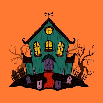 Maison d'halloween de style dessiné à la main