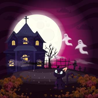 Maison hantée avec chat en illustration halloween scène