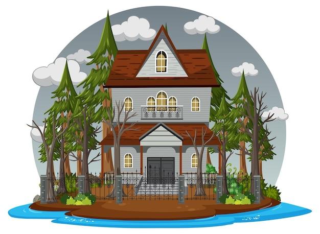 Maison hantée avec ciel gris