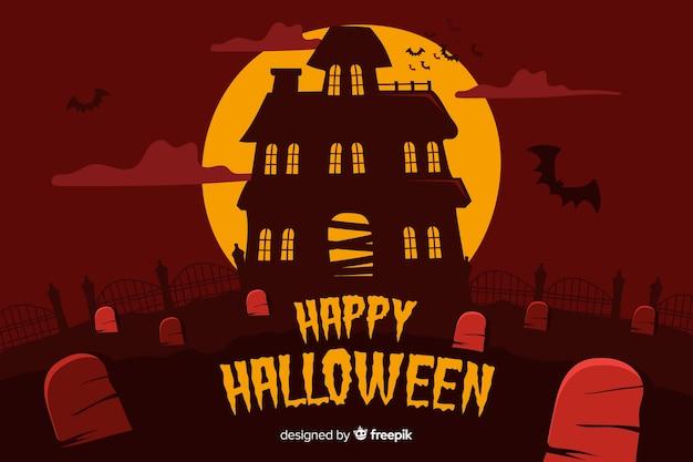 Maison hantée dans la nuit halloween