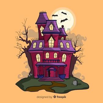 Maison hantée d'halloween dessiné à la main