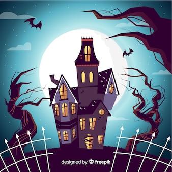 Maison hantée de halloween dessinés à la main