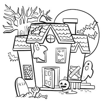 Maison hantée avec illustration vectorielle de fantômes