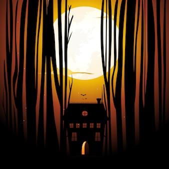 Maison hantée à l'intérieur de la forêt