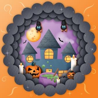 Maison hantée sur le thème de l'halloween