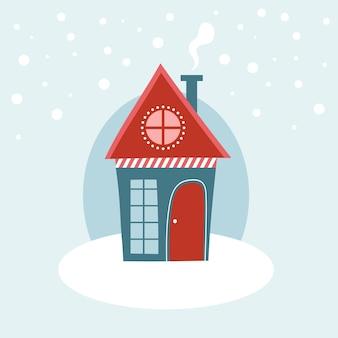 Maison d'hiver avec de la neige. illustration vectorielle de style dessin animé plat.