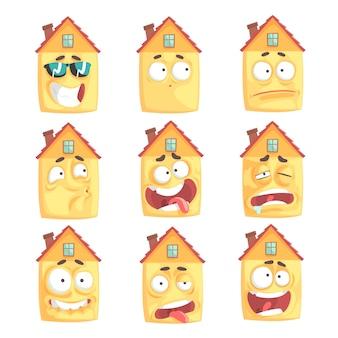 Maison humanisée de dessin animé mignon avec de nombreuses expressions ensemble d'illustrations