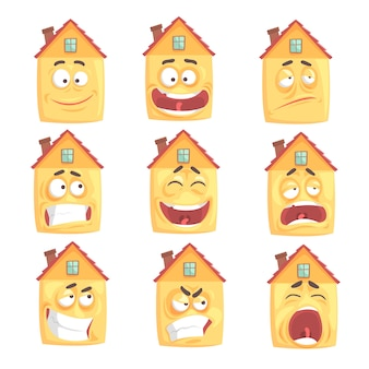 Maison humanisée drôle de bande dessinée avec de nombreuses expressions ensemble d'illustrations