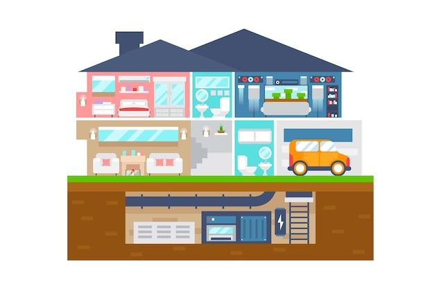 Maison en illustration de conception plate en coupe
