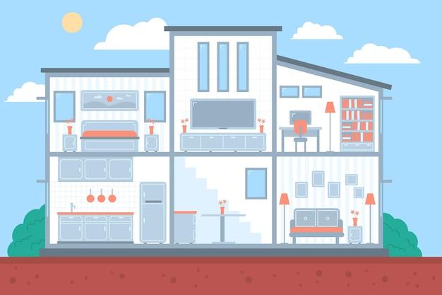 Maison illustrée en coupe transversale