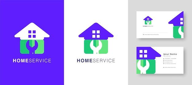 Maison immobilière logo fix réparation maison ou village création de logo vectoriel avec une carte de visite premium
