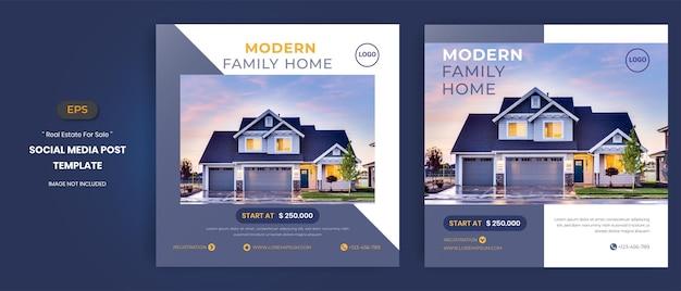 Maison immobilière à vendre modèles de publication sur les réseaux sociaux