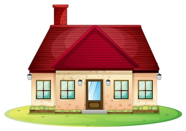 Maison individuelle avec cheminée rouge sur le toit