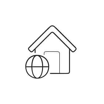 Maison intelligente avec accès internet icône de doodle contour dessiné à la main. concept de technologie domotique intelligente