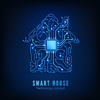 Maison intelligente ou concept iot. contexte de la technologie de l'avenir et de l'innovation. blue circuit house avec cpu à l'intérieur. illustration vectorielle