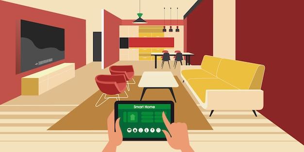 Maison intelligente. contrôle des appliances iot à l'aide d'une tablette sur un réseau.