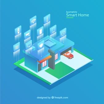 Maison intelligente dans un style isométrique