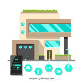 Maison intelligente avec des fonctions dans un style plat