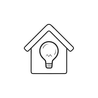 Maison intelligente avec icône de doodle contour dessiné main ampoule. technologie intelligente, concept d'idées pour la maison