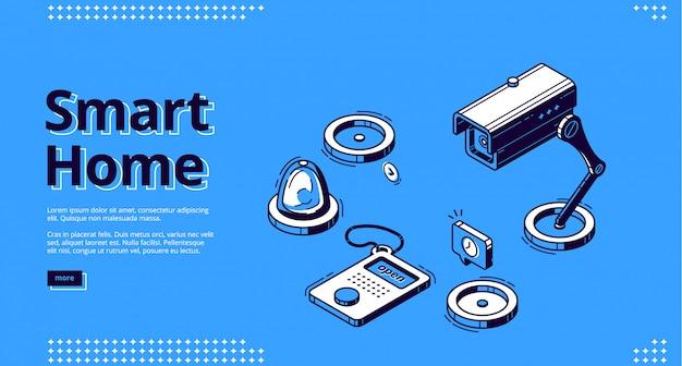 Maison intelligente, internet des objets web isométrique