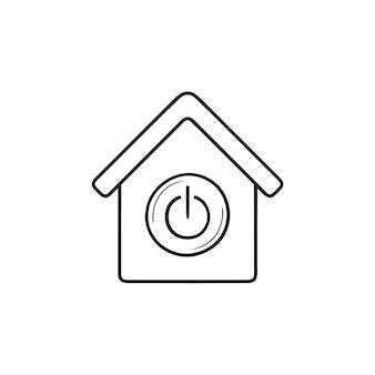 Maison intelligente avec interrupteur sur le bouton icône de doodle contour dessiné à la main. concept de technologie domotique intelligente