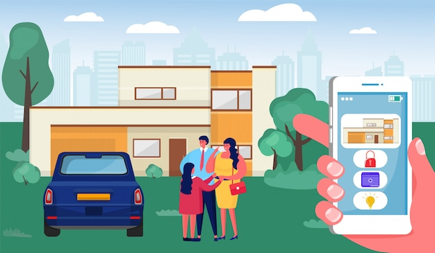 Maison intelligente, main humaine de dessin animé tenant le smartphone avec interface de contrôle, concept de technologie de système domotique
