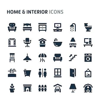 Maison et intérieur icon set. série d'icônes fillio black.