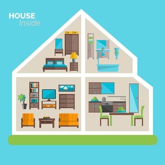 Maison à l'intérieur d'icônes d'idées d'ameublement