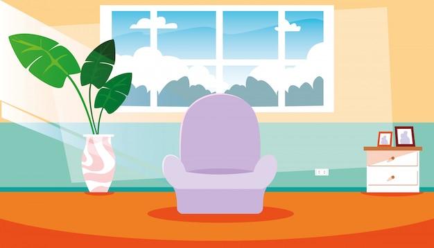 Maison à l'intérieur de la scène avec un canapé et des intérieurs de décoration