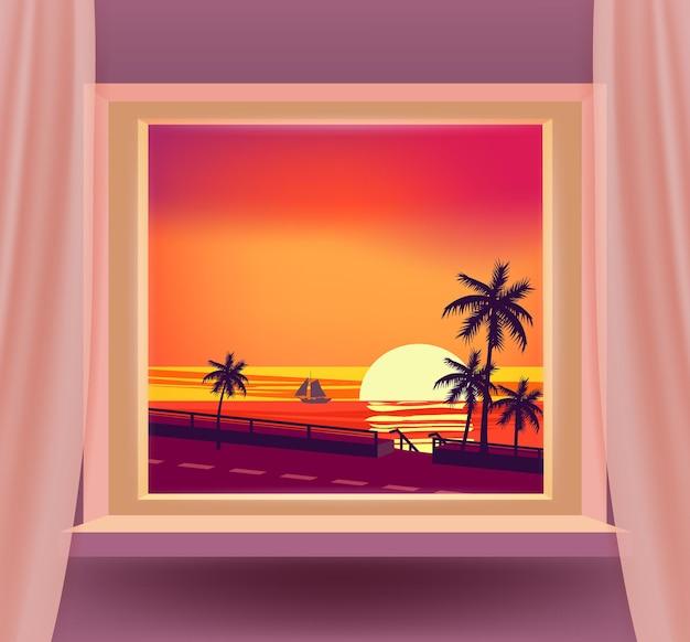 Maison intérieure de fenêtre ouverte avec une vue de paysage marin de paysage de mer de coucher du soleil