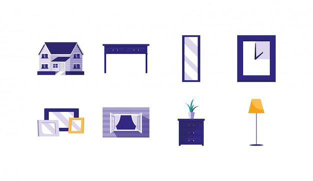 Maison isolée décoration objets icon set vector design