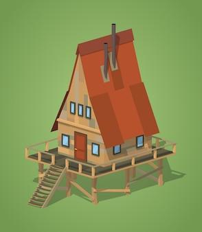 Maison isométrique 3d lowpoly en bois a-frame