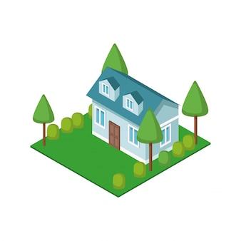 Maison isométrique 3d